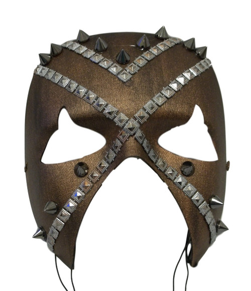 """Battle""  Brown Bronze Spike Metal Stud Steampunk Masquerade Prom Mask"