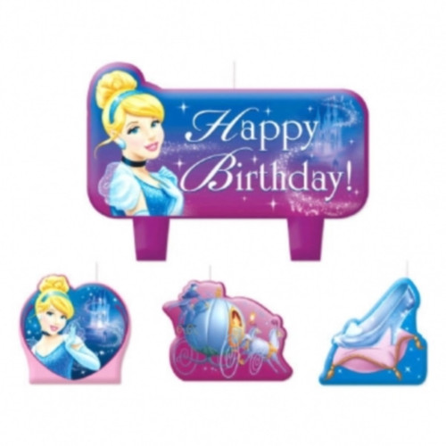 Cinderella 4 Pc Candle Set Cake Toppers Birthday Party