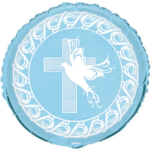 Blue Dove Cross Foil Mylar Round Balloon Party