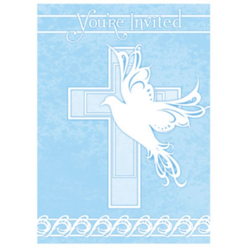 Blue Dove Cross 8 Invitations Baptism Christening Communion Party