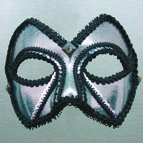 """Midnight Men"" Pewter Silver Black Sequin Masquerade Ball Mask"