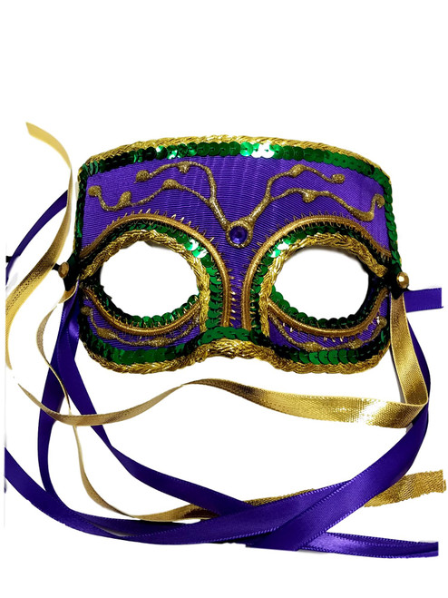 """Mardi Gras Carnival Men"" Purple Green Gold Masquerade Ball Mask"