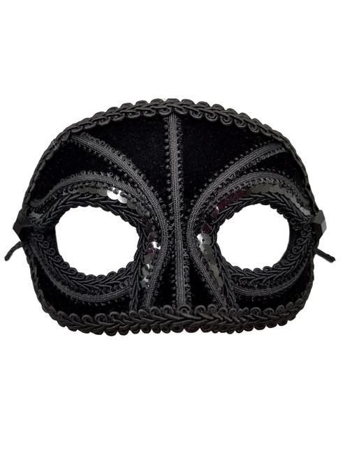 """""""Sonata"""" Black Velvet Sequin Masquerade Prom Ball Mask Men"""