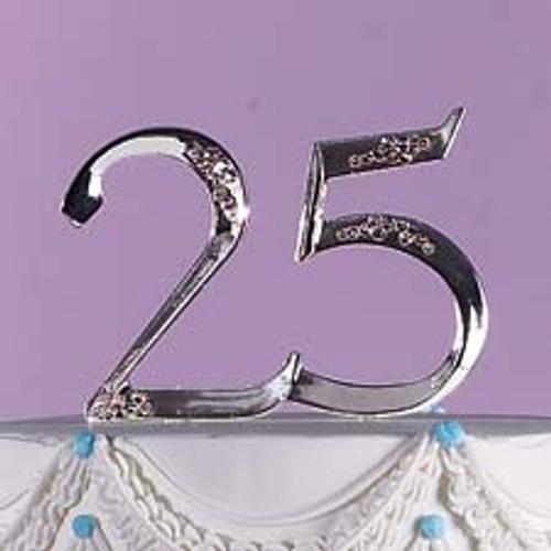 Anniversary Cake Topper Silver 25 25th Floral Pick Wilton