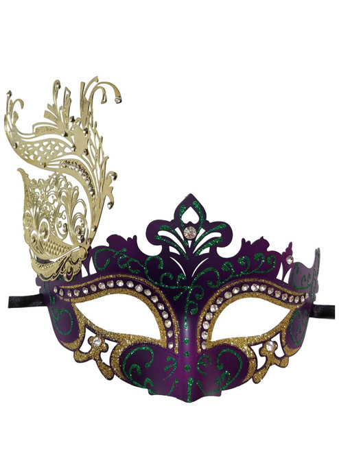 Green Gold Purple Laser Cut Filigree Venetian Mask Masquerade Rhinestone