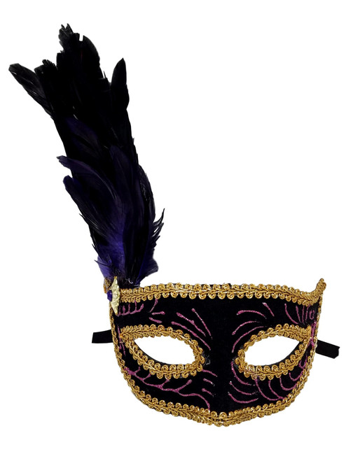 Black Velvet Purple Gold Venetian Feather Mask