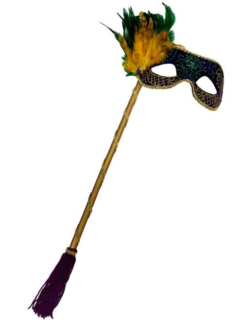 Purple, Green, Gold Venetian Feather Stick Mask Masquerade Prom Mask