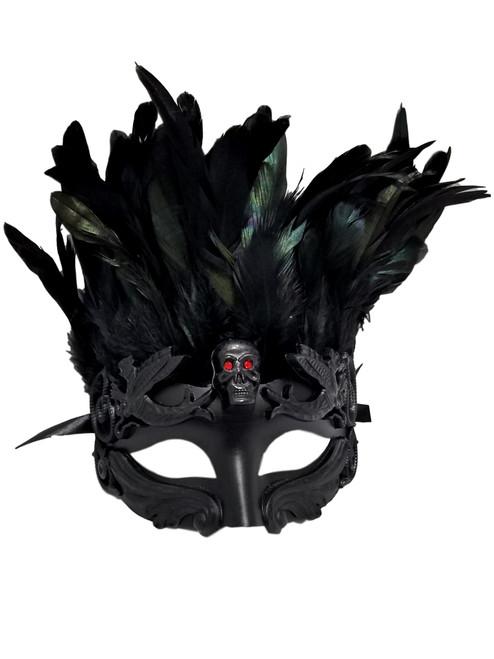 Black Skull Red Eyes Feather Masquerade Mardi Gras Men's Mask