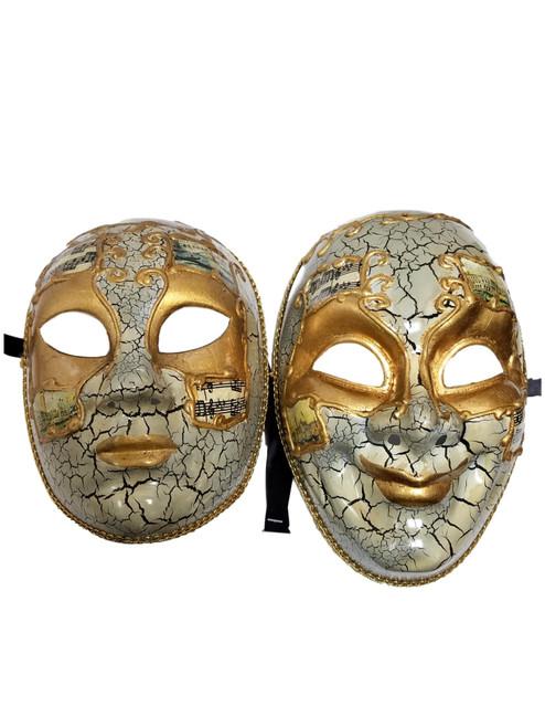White Gold Full Face Joker and Lady Venetian Masks Masquerade Set