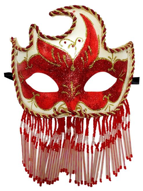 Red White Beaded Veil Masquerade Mardi Gras Prom New Years Ball Mask