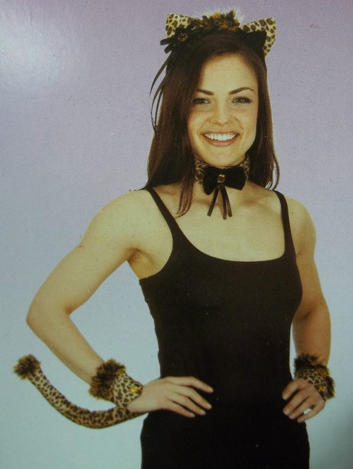 Sexy Leopard Woman Ears Tail Collar Cuffs Set Costume Instant Kit Brown