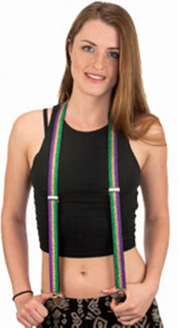 Mardi Gras Metallic Suspenders Purple Green Gold Yellow
