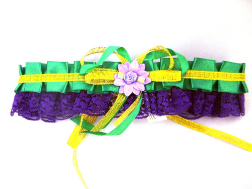 Mardi Gras Choker Purple Green Gold Flower Lace