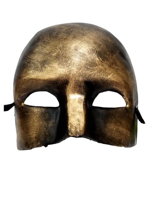 Gold Brushed Paper Mache Ancient Warrior Mardi Gras Mask Masquerade