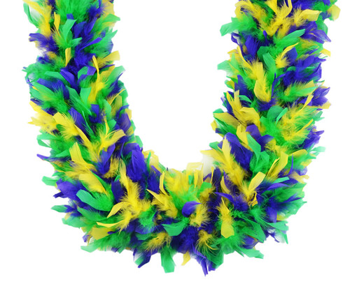 Mardi Gras Mix 80 gm 72 in 6 Ft Heavyweight Chandelle Feather Boa Purple Green Yellow