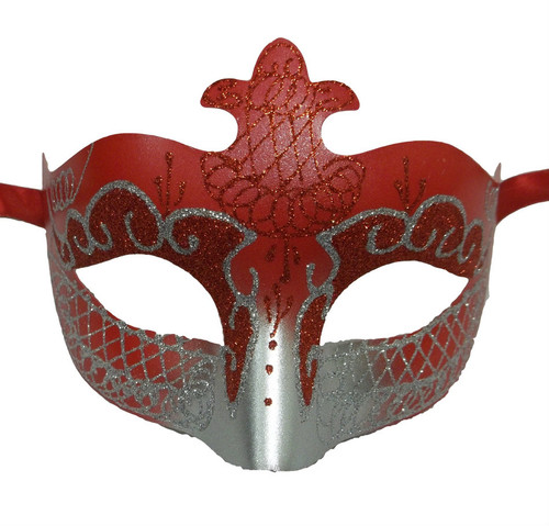 Red Silver Scroll Venetian Mask Masquerade Costume Dance Men Women