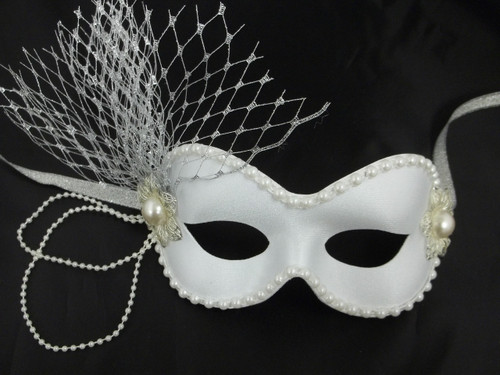 """Pearl"" White Silver Ribbon Crystal Pearl Masquerade Prom Ball Mask"