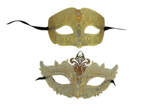 Gold Crown Man Woman Couples Laser Cut Venetian Masquerade Metal Masks