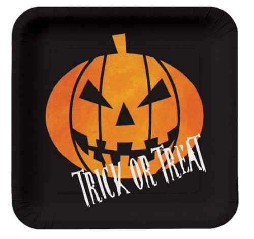"Creepy Night Halloween Pumpkin ""Trick or Treat"" 8 Dessert Plates 7"""