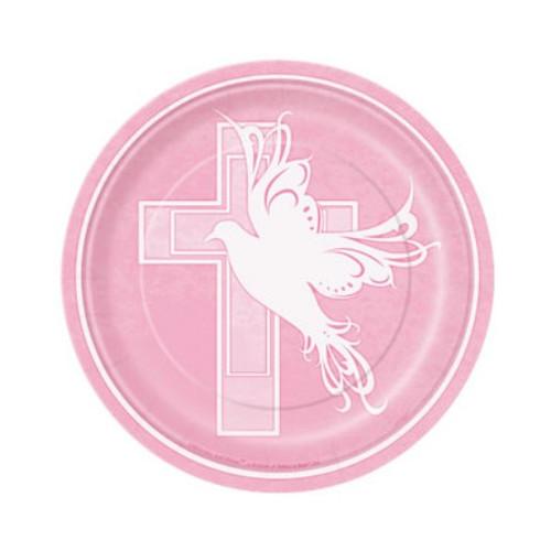 "Pink Dove Cross 8 Ct Dessert Cake Plates 7"" Baptism Christening Communion Party"