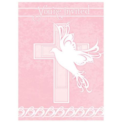 Pink Dove Cross 8 Ct Invitations Baptism Christening Communion Party Supply