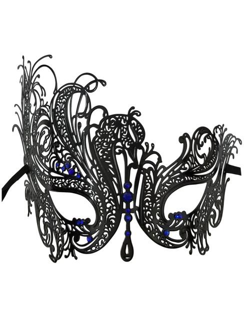 Black Blue Rhinestone Swan Laser Cut Venetian Mask Masquerade Metal