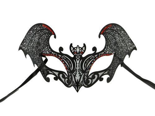 Black Gothic Bat Red Mask Masquerade Metal Filigree Halloween