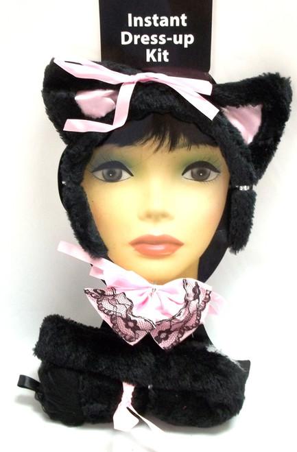 Sexy Plush Kitty Ears Tail Bowtie Black Cat Halloween Costume Instant Kit