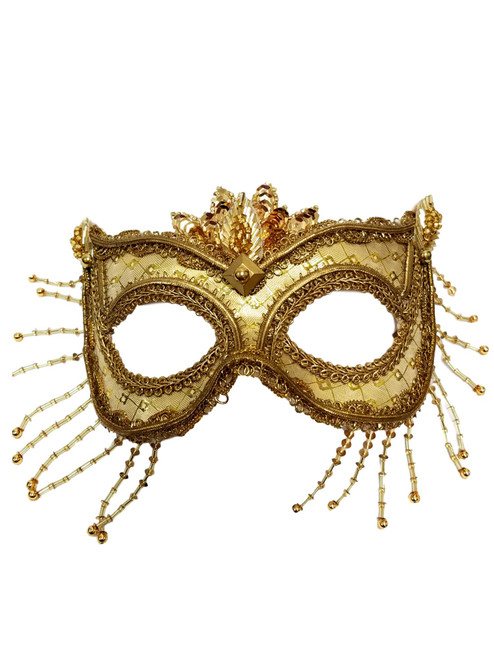 """Diana"" Gold Beaded Metallic Masquerade Prom Ball Mask"
