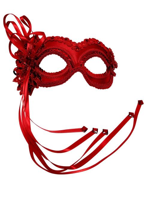 """""""Valentina"""" Red Beaded Velvet Masquerade Prom Ball Mask"""