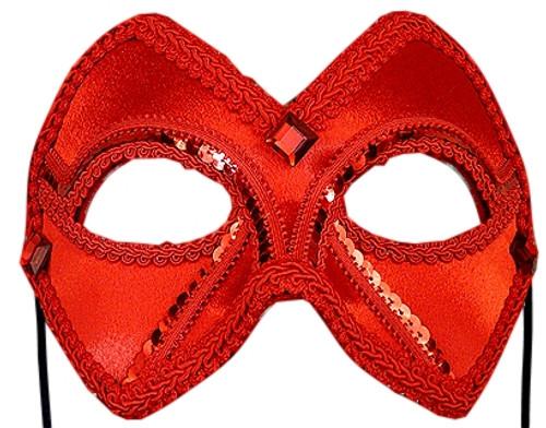 """Valentina Companion"" Red Beaded Velvet Masquerade Prom Ball Mask"