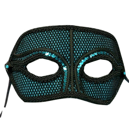 """Lou"" Companion Men's Teal Sequin Moire' Masquerade Prom Ball Mask"