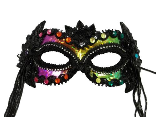 """Midnight Rainbow"" Black Beading Masquerade Ball Mask"