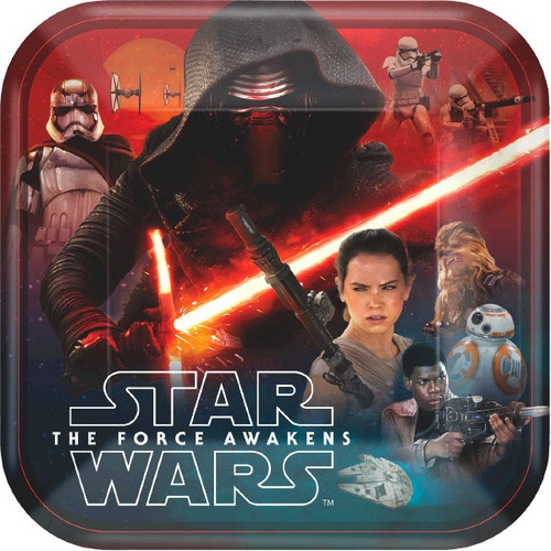 """Star Wars """"The Force Awakens"""" VII 9"""" Square Dinner Lunch Plates 8 Ct"""