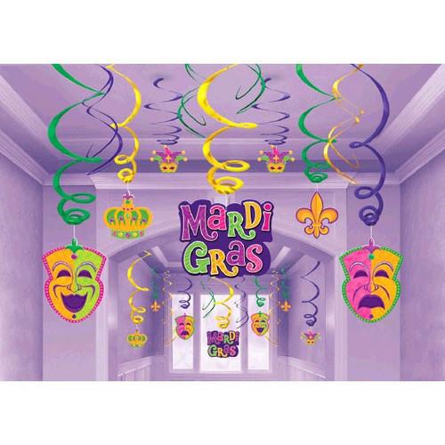 Mardi Gras Hanging Decorations Swirls Mega 30 Pc Value Party Pack