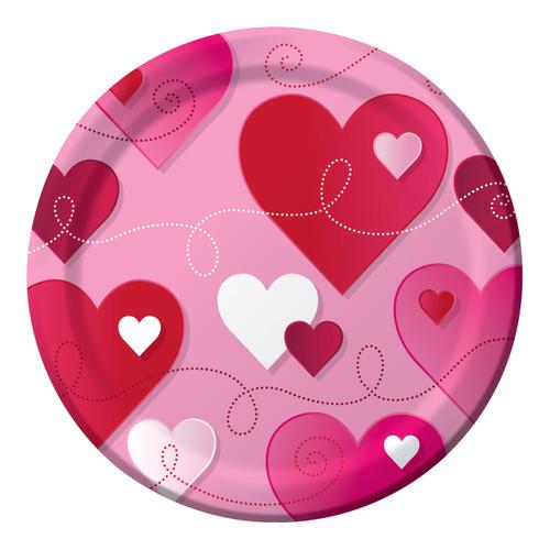Hearts Swirls Valentines Day Party  8 7 inch Paper Dessert Cake Plates