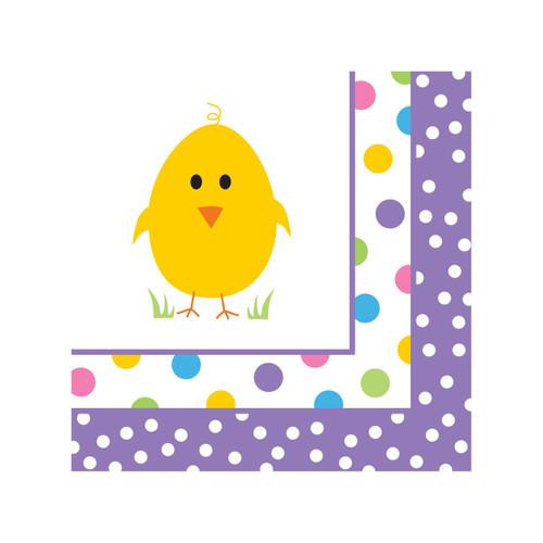 Easter Chick Celebration 16 Beverage Napkins Spring Party Polka Dot