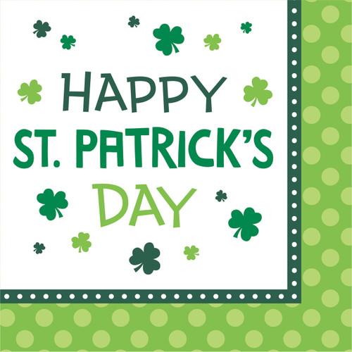 Happy St Patricks Day Fun 16 Beverage Napkins Shamrock Clover