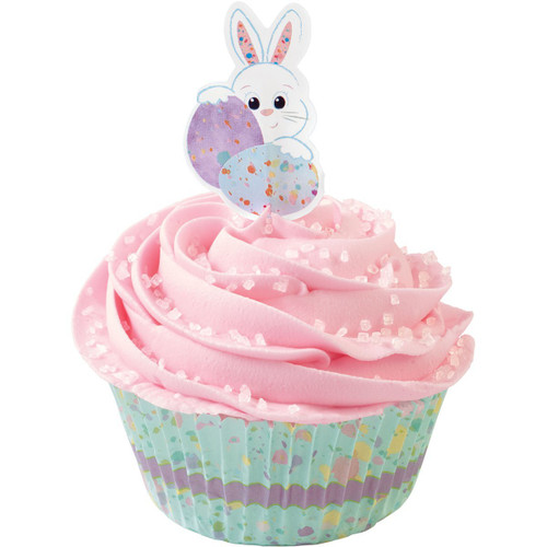 Wilton Sweet Splatters Bunny Cupcake Kit 24 Baking Cups Picks