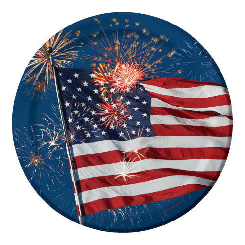 Firework Finale Flag 9 inch Dinner Plates 8 ct 4th July Stars Stripes