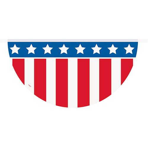 Patriotic Plastic Flag Garland Bunting 12' Party Decorations Veterans