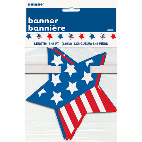 Patriotic Stars Stripes Red White Blue Garland Banner 4th July