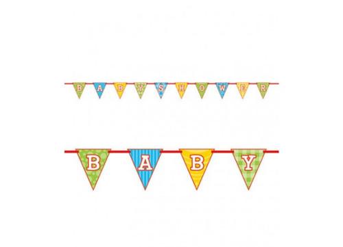Noah's Ark Baby Shower Flag Ribbon Banner 9 Ft Zebra, Lion