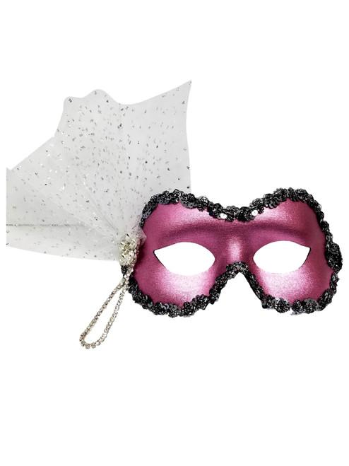 Noelle Pink White Glitter Crystal Masquerade Mardi Gras Prom Ball Mask