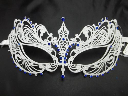 White Blue Crystal Beautiful Eyes  Mask Masquerade Metal Filigree