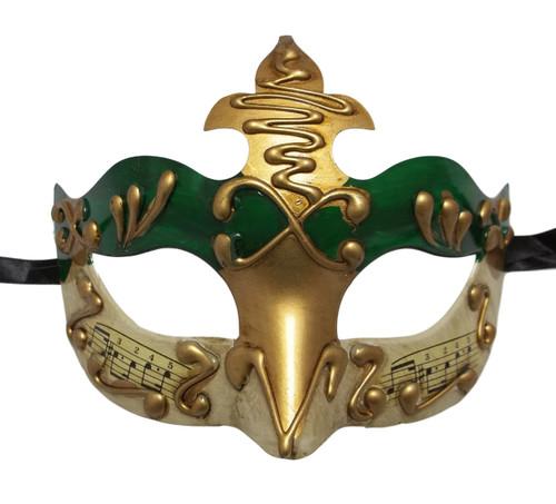 Green Gold Music Masquerade Mardi Gras Mask