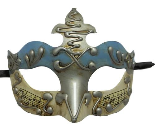 Light Blue Silver Music Masquerade Mardi Gras Mask