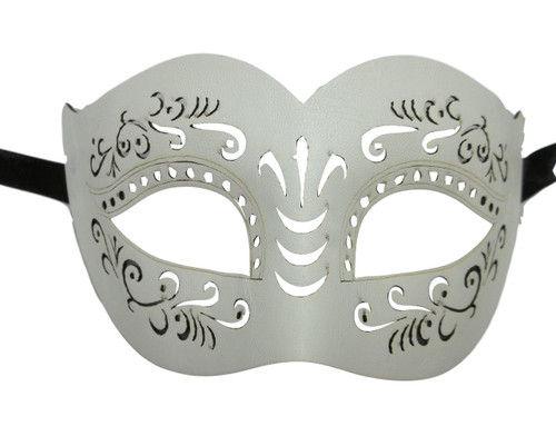 White Leather Laser Cut Venetian Masquerade Prom Mask
