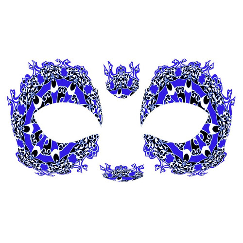Masque Rage Temp Tattoo Mask Royal Blue Black Mardi Gras Masquerade