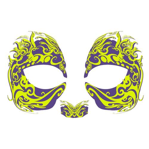 Masque Rage Temp Tattoo Mask Green Mardi Gras Masquerade